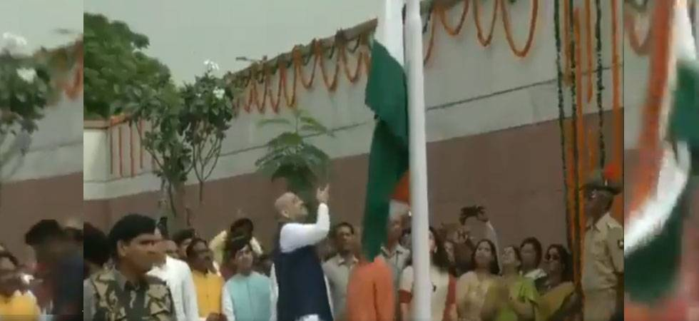 Congress mocks Amit Shah for dropping Tricolour at BJP headquarters (Photo: Video grab, quality regretted)
