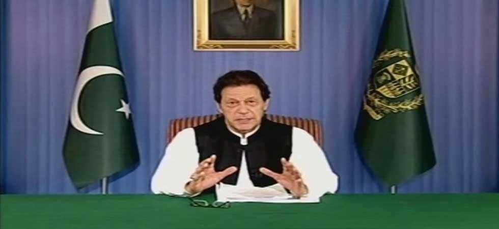 In his maiden address to nation, Pakistan Prime Minister Imran Khan highlights problems (Photo- Twitter/ANI)