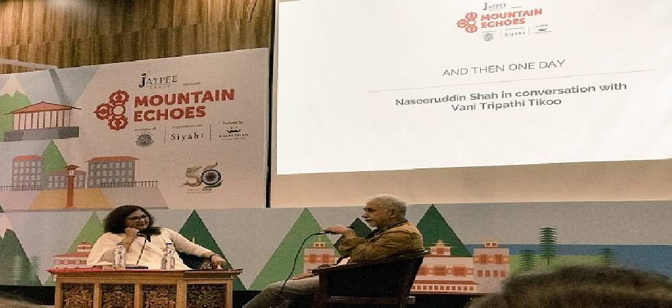 Naseeruddin Shah at a session at the ongoing Mountain Echoes literary festival in Thimphu (Photo: Twitter)