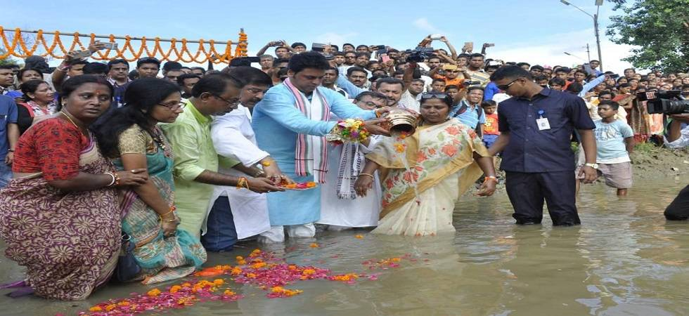 Vajpayee's ashes immersed in seven rivers of Tripura (Photo- Twitter/@BjpBiplab)