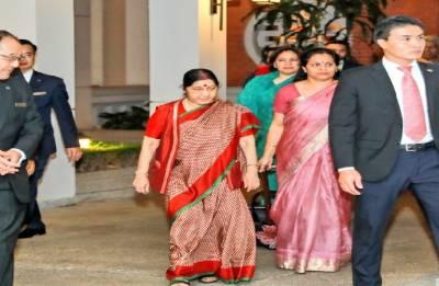 Sushma Swaraj arrives in Vietnam to deepen bilateral strategic cooperation