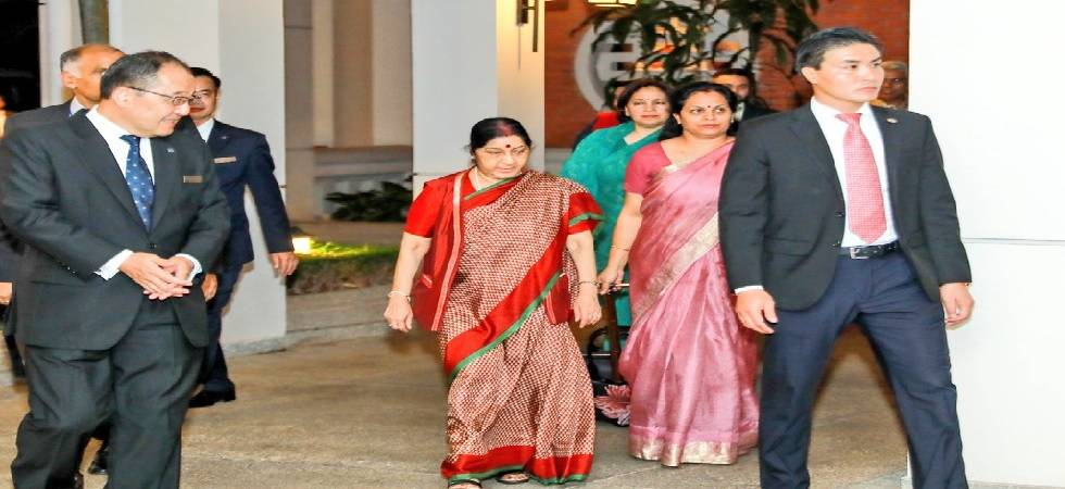 Sushma Swaraj arrives in Vietnam to deepen bilateral strategic cooperation (Image: Twitter)