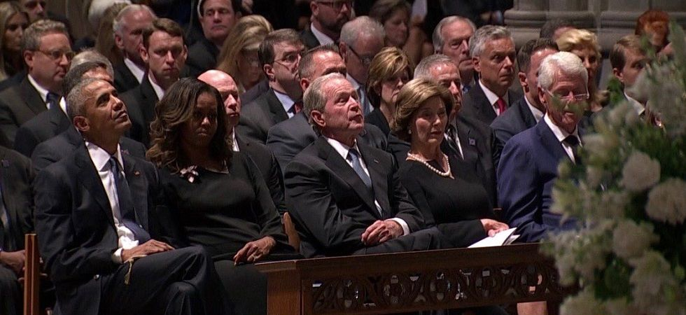 Two presidents—not Trump—pay tribute to McCain at Washington funeral (Photo- Twitter/@TomAshbrook)