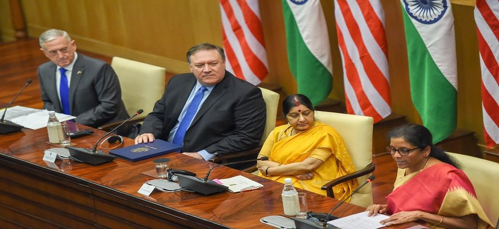 2+2 dialogue: External Affairs Minister Sushma Swaraj, Defence Minister Nirmala Sitharaman, US Secretary of state Mike Pompeo and US Secretary of Defense James Mattis at a joint conference in New Delhi (Photo: PTI)