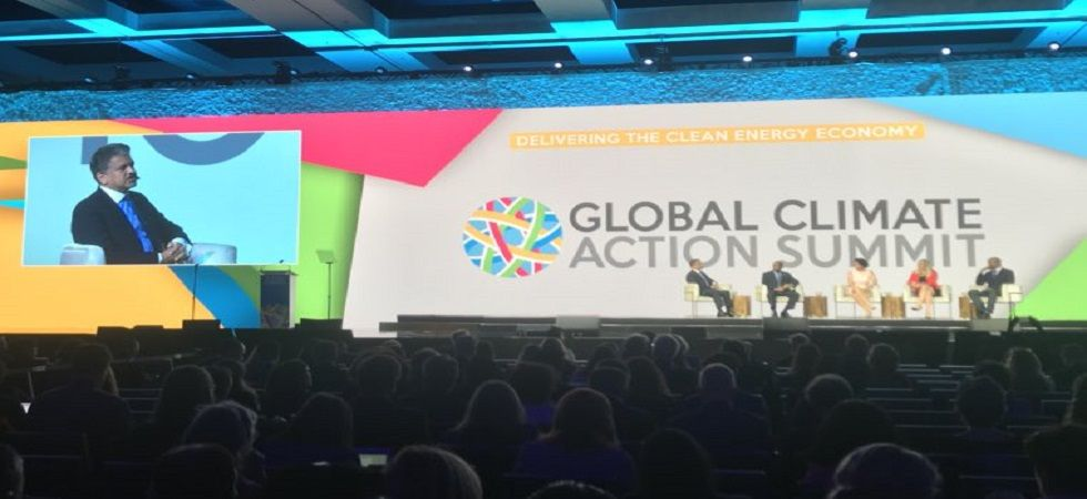 Mahindra Group Chairman Anand Mahindra co-chairing of the Global Climate Action Summit in San Francisco (Photo- Twitter/@GCAS2018)