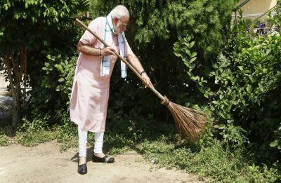 Swachhata Hi Seva: PM Modi sweeps Delhi school premises; interacts with students