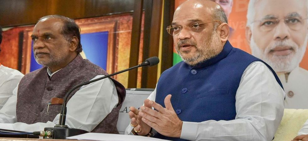 Amit Shah sounds poll bugle in Telangana; criticises CM KCR for ensuing early Assembly polls (Photo Source: PTI)