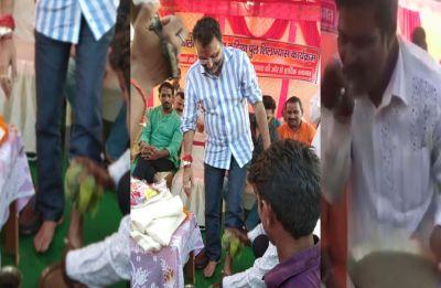 Man washes feet of Godda BJP MP Nishikant Dubey, drinks same water