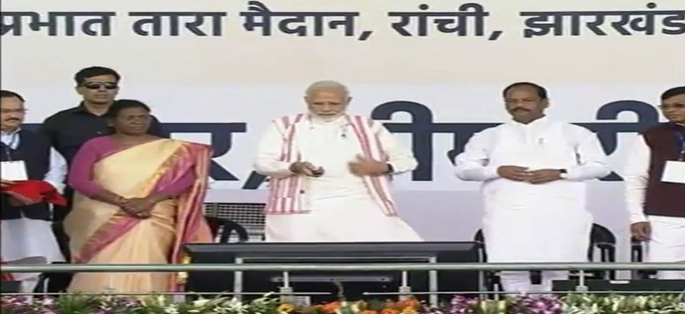 The Prime Minister launched the Pradhan Mantri Jan Arogya Yojana (PMJAY) - Ayushman Bharat in Ranchi on Sunday. (Photo: Twitter)