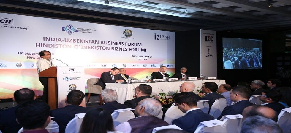 Union Minister Suresh Prabhu addressing India-Uzbekistan Business Forum in New Delhi (Photo- Twitter/@sureshpprabhu)