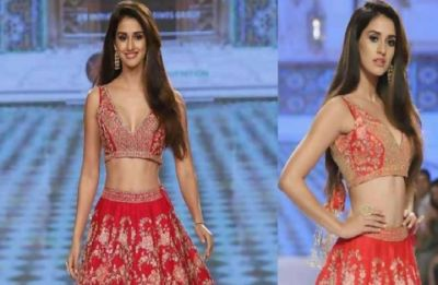 Disha Patani looks ravishing as she walks the ramp in soft melon pink
