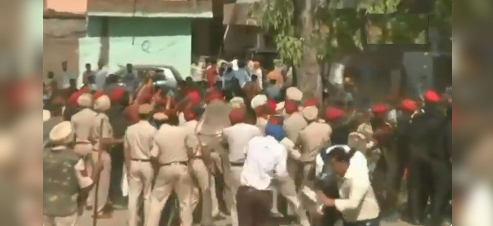 Amritsar Train Tragedy: Protester clash with Police, pelt stones accident site (ANI Photo)