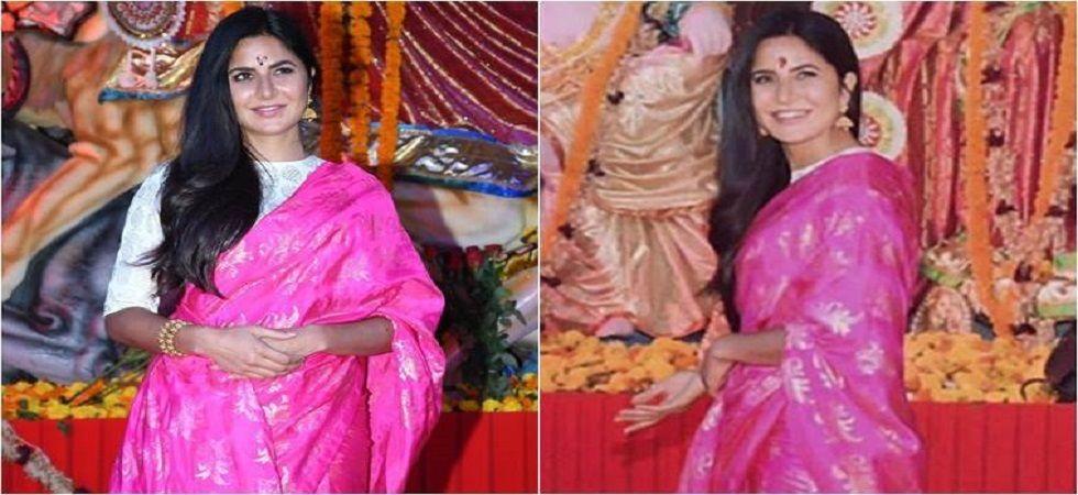 Katrina Kaif lights up the festive season in pink Masaba Gupta sari (Photo: Twitter)