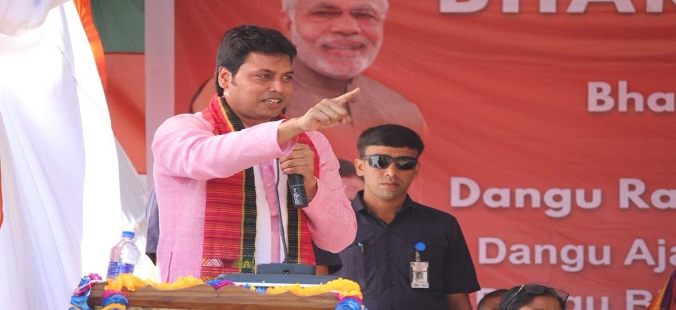 Tripura CM Biplab Kumar Deb holds poll rally in Mizoram (Photo- Twitter/@BjpBiplab)