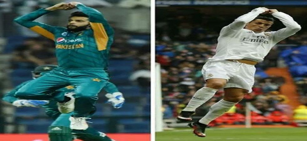 Imad Wasim celebrated like Cristiano Ronaldo after taking wickets during the Abu Dhabi game against Australia
