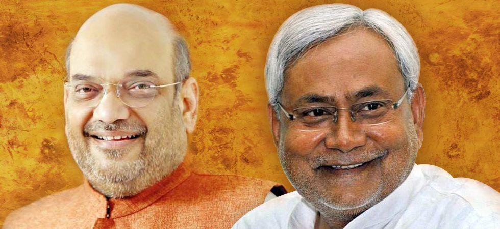 BJP president Amit Shah with Bihar CM Nitish Kumar
