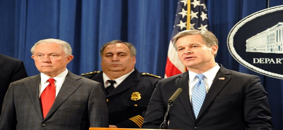 FBI director, Chris Wray, has said the suspect was identified on the basis of finger prints from one of the 13 package bombs. (Image source: Twitter)