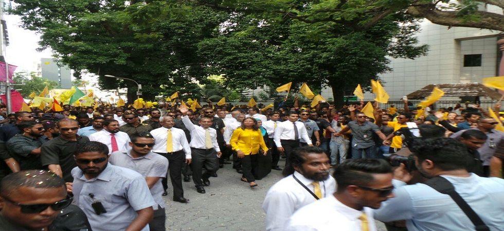 Maldives ex-president Mohamed Nasheed returns from asylum (Photo- Twitter/@MDPnews)