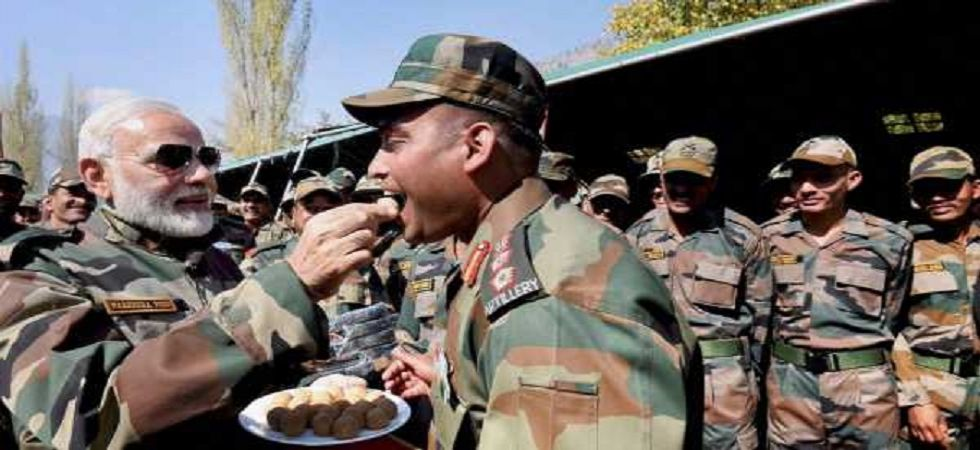 Modi had spent his fourth Diwali as prime minister with soldiers at Gurez in Jammu and Kashmir last year. (PTI/file)