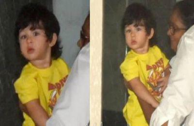 Taimur Ali Khan enters play school with sleepy eyes; see pics