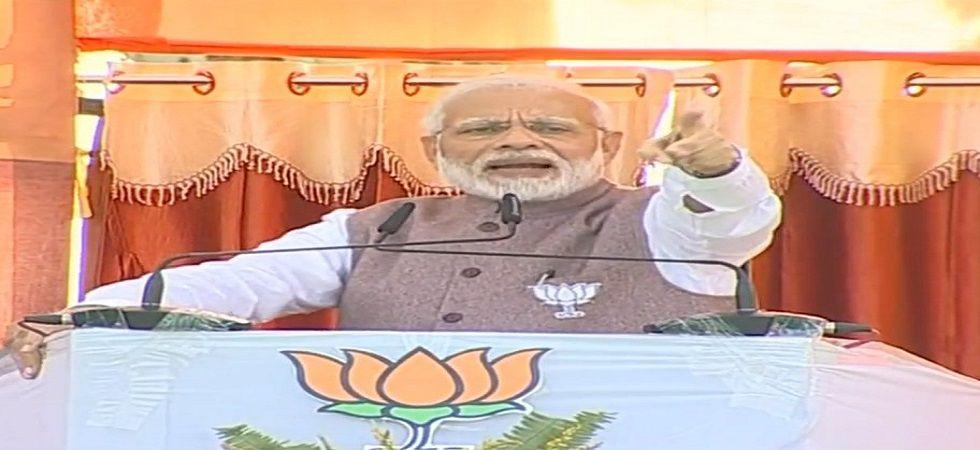 PM Narendra Modi addresses a rally in Madhya Pradesh's Chhindwara on Sunday.