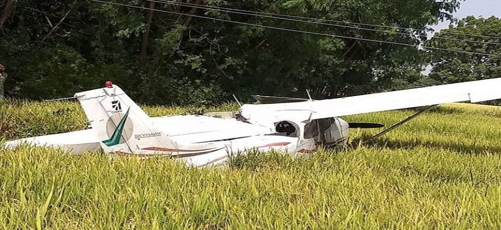 Telangana: Trainer aircraft crash lands in Ranga Reddy district, 75 km from from Hyderabad (ANI photo)