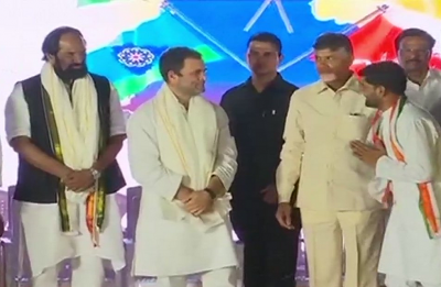 Telangana Elections: Rahul Gandhi shares dais with Chandrababu Naidu, calls TRS a 'B team' of BJP