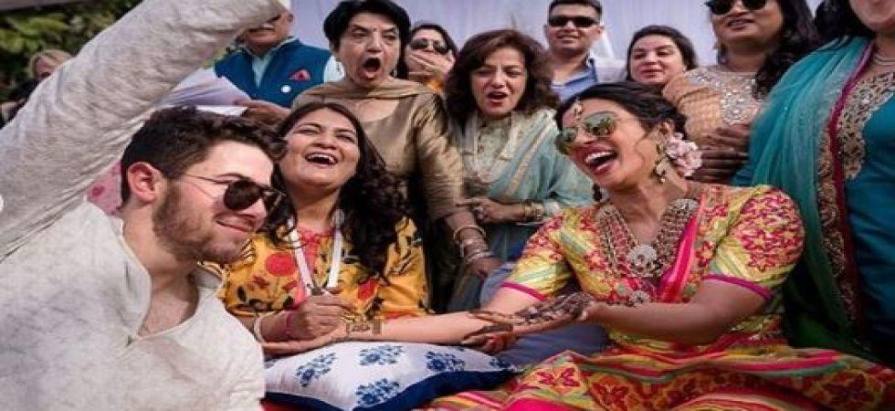 Priyanka Chopra and Nick Jonas at their Mehendi ceremony (Instagrammed photo)