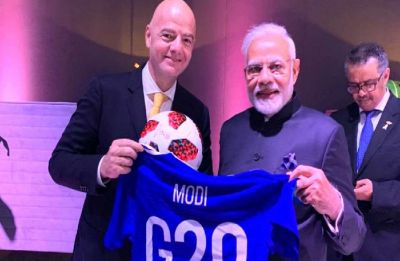 FIFA President gifts football jersey to PM Modi