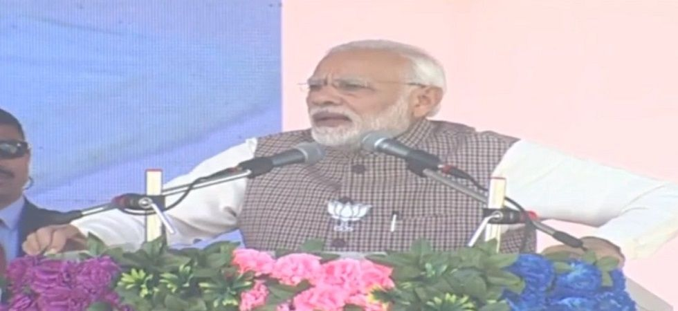 Prime Minister Narendra Modi is addressing a rally in Sumerpur. (Photo: ANI)