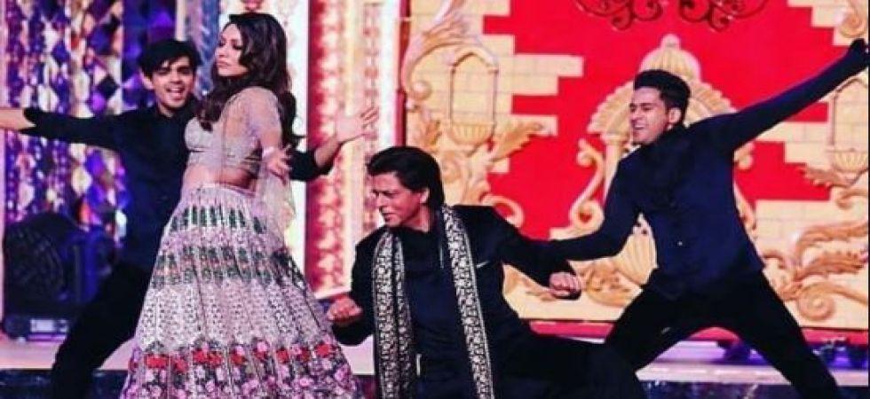 Shah Rukh Khan and Gauri Khan dance their way in Isha Ambani-Anand Piramal sangeet ceremony (Twitter photo)