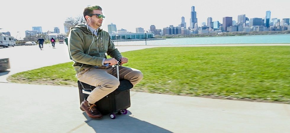 This motorised luggage lets you ride through the airport (Photo; Twitter)