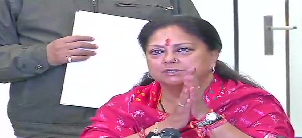 Rajasthan's outgoing chief minister Vasundhara Raje. (ANI/Twitter)