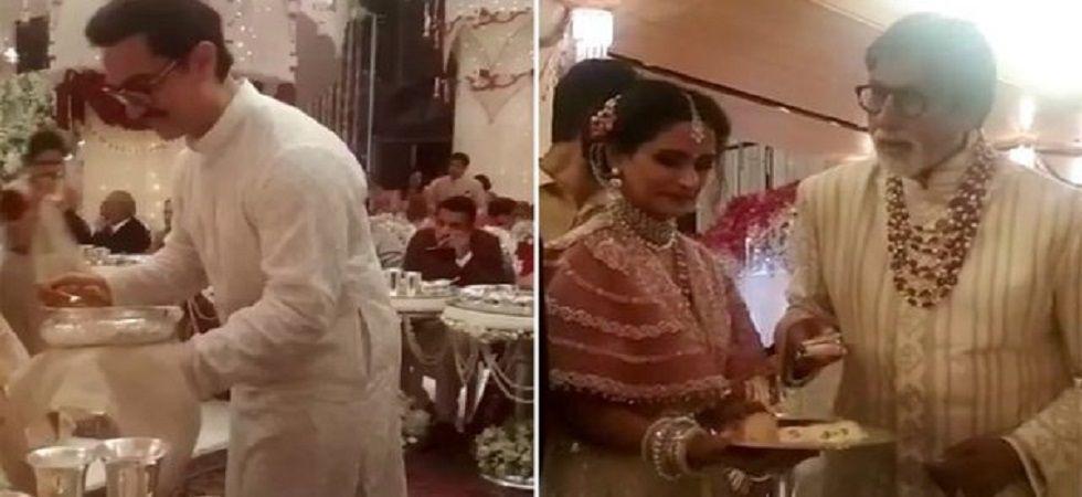 Amitabh Bachchan, Aamir Khan serve food at Isha Ambani's wedding (PhotoL: Twitter)