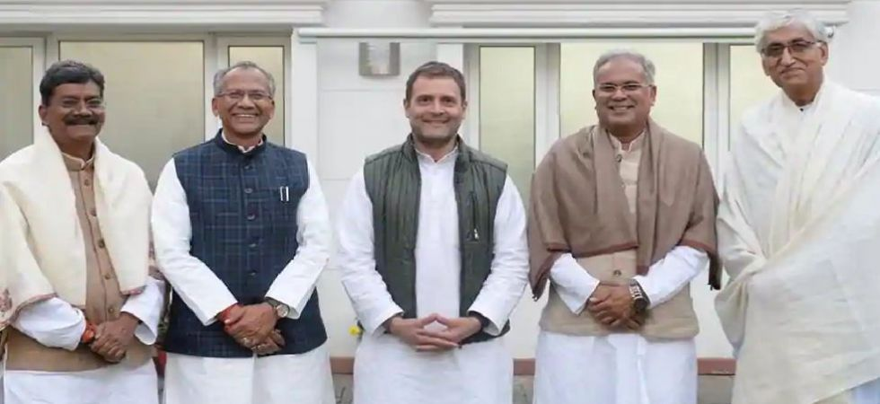 Congress president Rahul Gandhi with top contenders for Chhattisgarh CM post (Photo tweeted by Rahul Gandhi - @RahulGandhi)