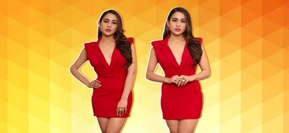 Sara Ali Khan stuns in red bodycon dress (Photo:Twitter)