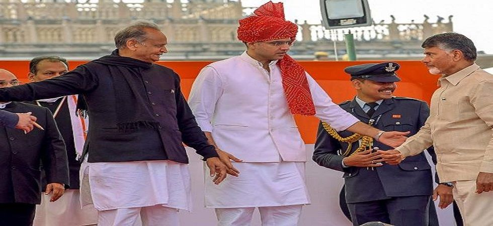 Rajasthan's new Deputy Chief Minister Sachin Pilot during the swearing-in ceremony, at Albert Hall in Jaipur, on Monday, (PTI)