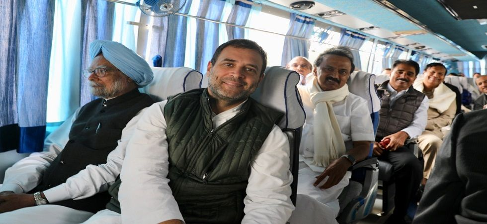 The bus travelled sans three top leaders – Mamata Banerjee, Mayawati and Akhilesh Yadav.