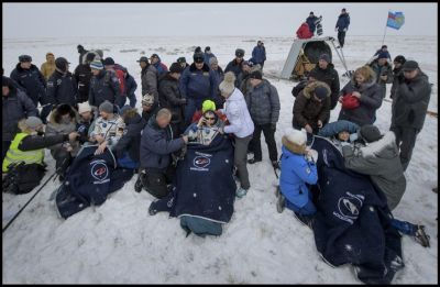 Russian, US and German astronauts land back on earth after six month stint