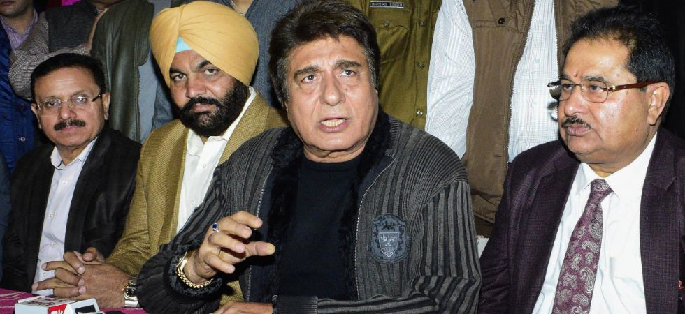 File photo of Congress leader Raj Babbar addressing a press conference recently. (PTI)