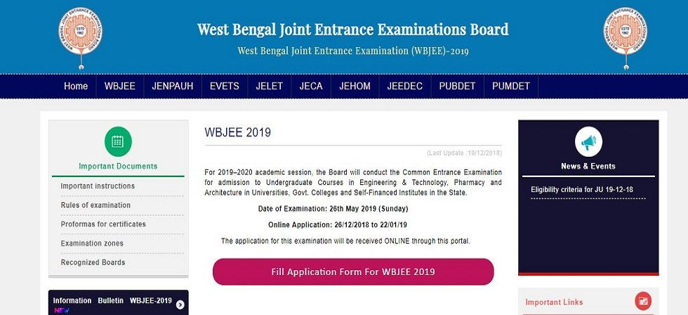 WBJEE 2019 online application begins at wbjeeb.nic.in, here are the steps (Screen grab)