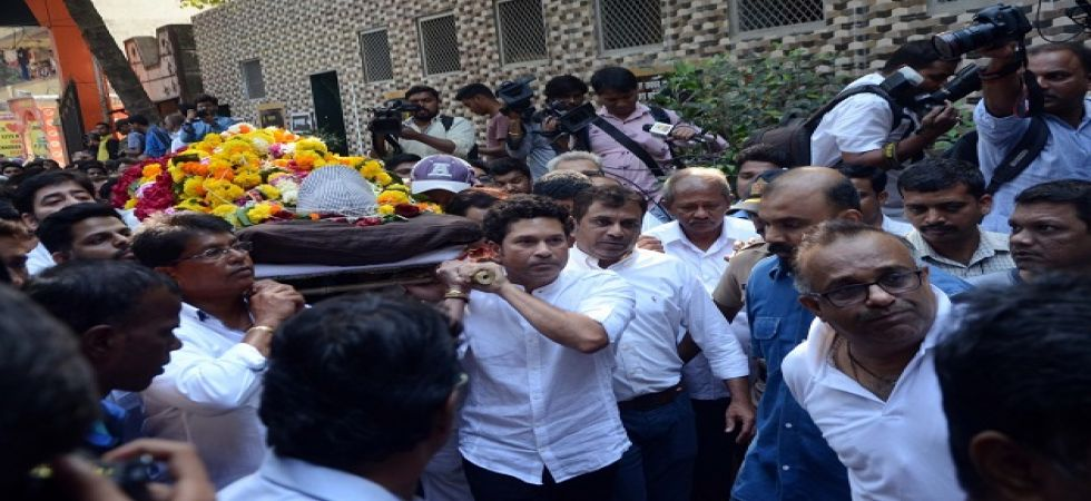 Sachin Tendulkar was one of the prominent people who attended Ramakant Achrekar's funeral. (Image credit: IANS)