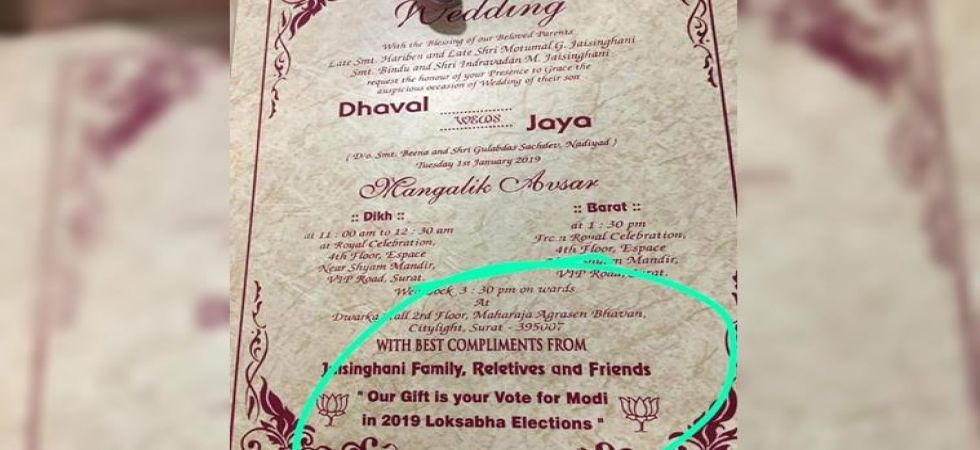 Modi's followers ask guests to vote for BJP as part of wedding gift (Photo Source: Facebook)