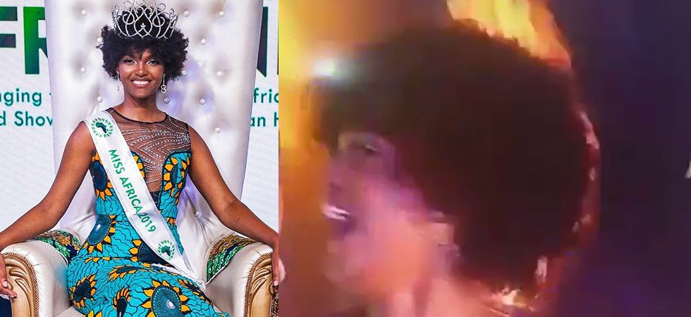 Miss Congo 2018 Dorcas Kasinde's hair caught fire while she was being crowned as Miss Africa 2018