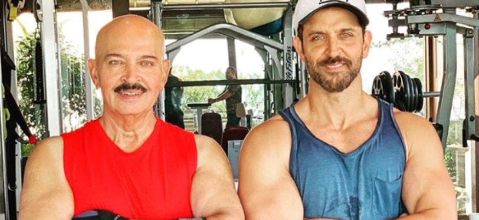 Hrithik Roshan with dad Rakesh Roshan./ Image: Instagram