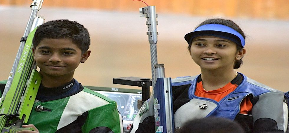 Abhinav Shaw became the youngest gold medal winner in the Khelo India Youth Games when he won the 10m air rifle mixed team event with Mehuli Ghosh. (Image credit: Twitter)