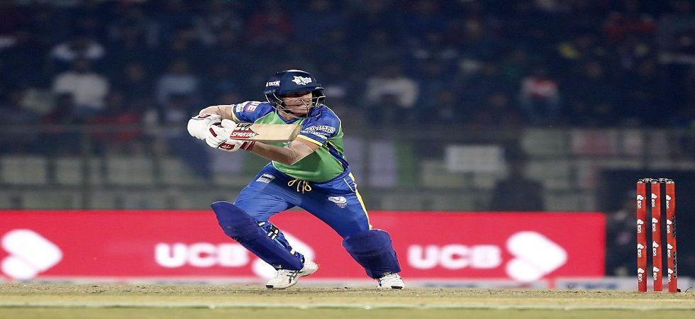 David Warner slammed 61 off 36 balls but his Bangladesh Premier League was cut short by an elbow injury. (Image credit: Twitter)