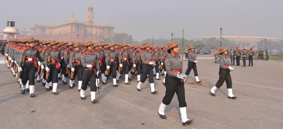 Assam Rifles' Women contingent during 2019 Republic Day parade rehearsals at Rajpath in New Delhi, on January 17, 2019. (IANS Photo)