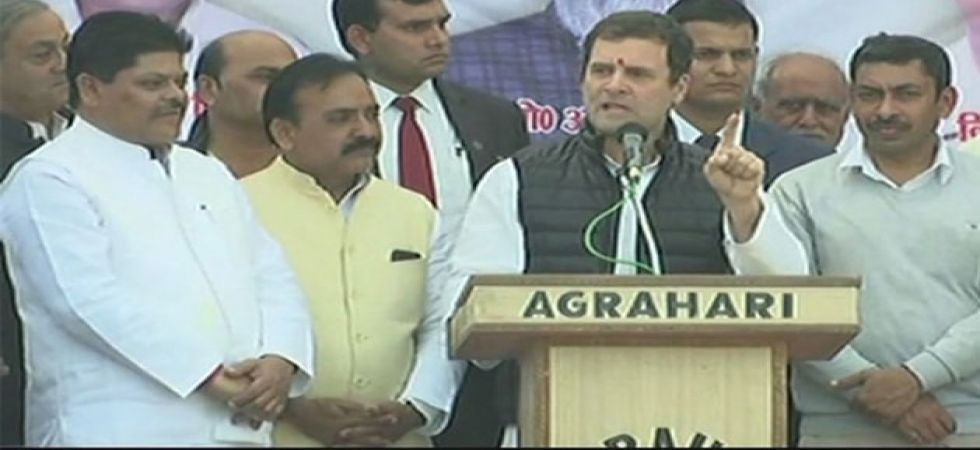 Congress president Rahul Gandhi while addressing a gathering in UP's Raebareli on January 24. (ANI Photo)