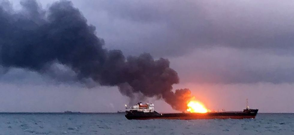 Twelve people were rescued from the ship fire. (Photo courtesy KerchFM/TASS)
